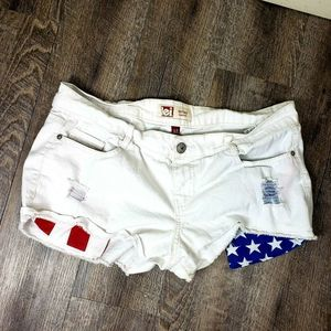 Lei Ashley Low Rise White Patriotic Size 15 Shorts